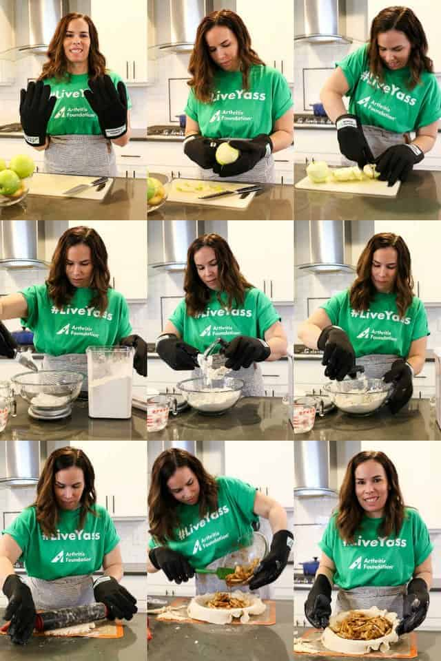 The Arthritis Foundation Let's Get a Grip campaign, food blogger Julianne from Beyond Frosting using the arthritis gloves to make an apple pie