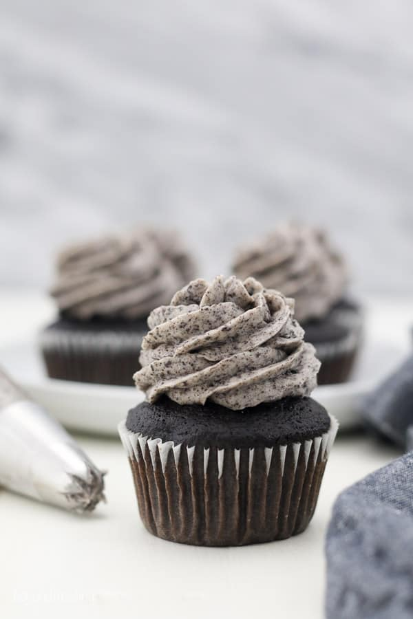 A perfect chocolate cupcake topped with a swirl of Oreo frosting