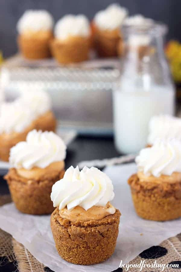 An overhead shot of a group of mini cookie cups, with a pumpkin filling and whipped cream