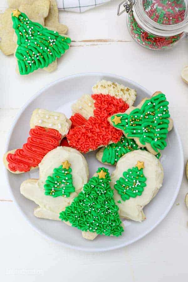 Decorated Christmas tree and stocking cookies.