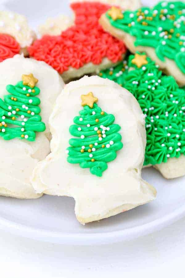 Christmas sugar cookies with frosting.