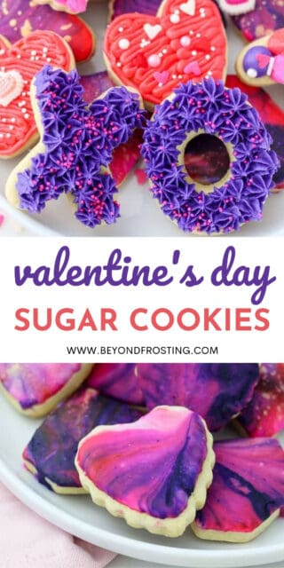 two images of sugar cookies for Valentines day with a text overlay
