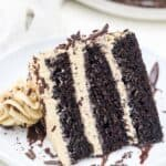 A 3 layer chocolate cake covered in a mocha buttercream is laying sideways on a white rimmed plate with chocolate shavings scattered on top