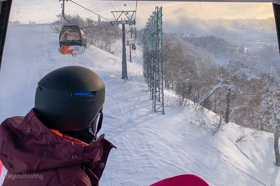 View out the gondola at Kiroro ski resort