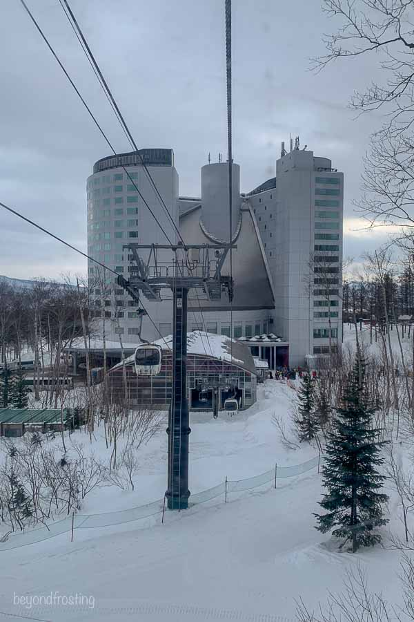 A view of the Hilton hotel from the gondola at Niseko Village ski resort