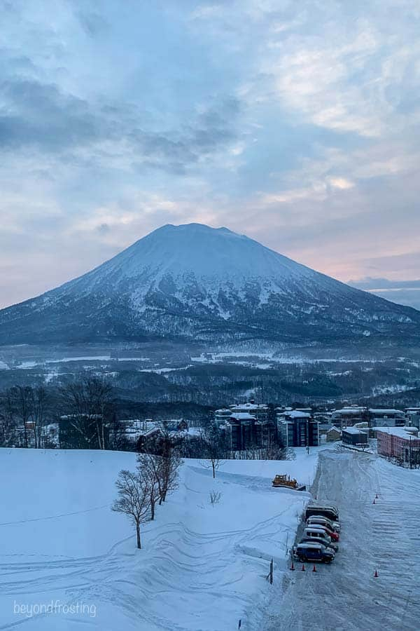 A view out the window from Skye Niseko resort hotel looking at Mt Yotei