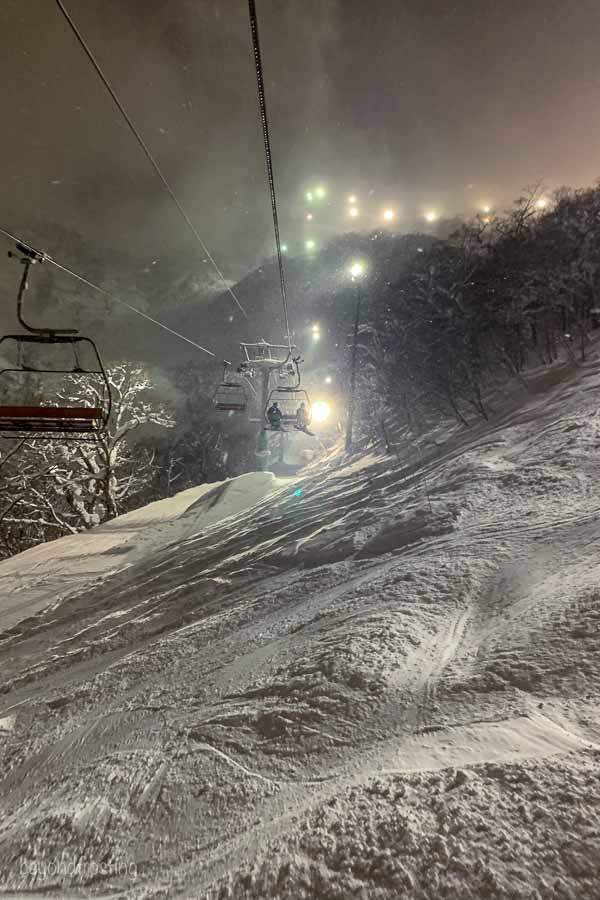 A view from the quad at Hirafu, Niseko ski resort night riding