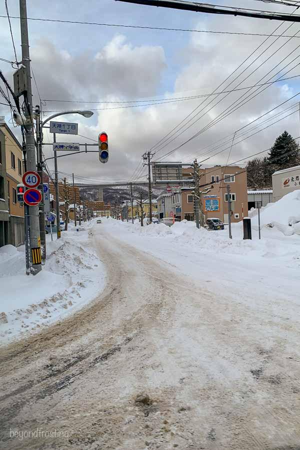 A snowy street in Kutchan
