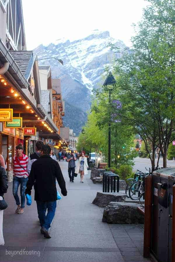 Mountain views from the streets of downtown Banff