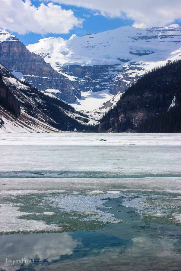 Amazing view of Lake Louise covered in ice and snow
