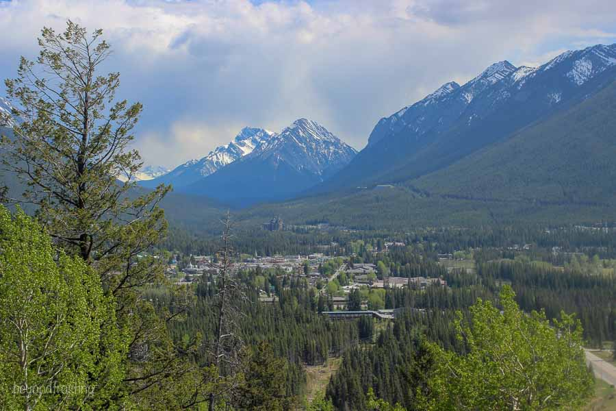 View from the road up Mount Norquay looking down into Banff town