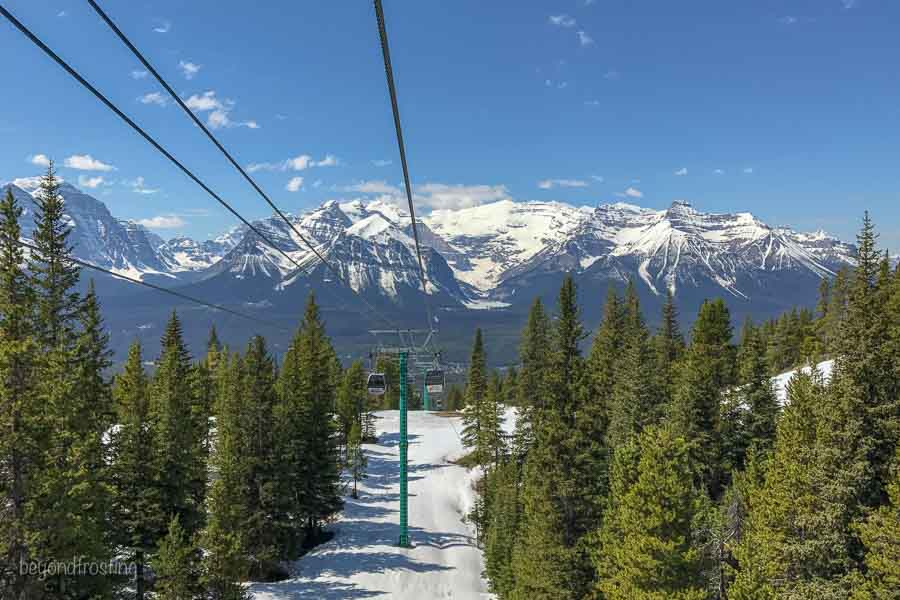 Gondola Rides during the summer at Lake Louise Ski area, the mountain is still covered in snow
