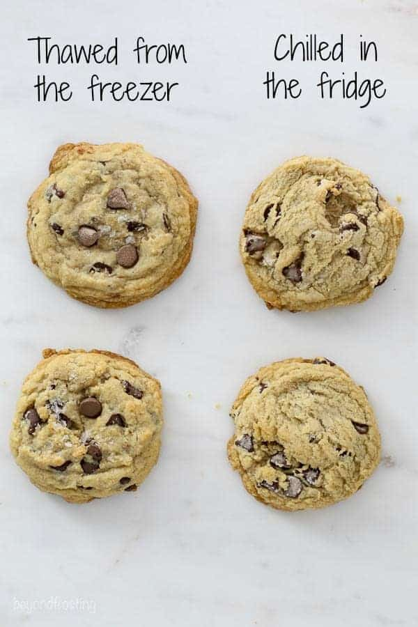 4 chocolate chip cookies lined up showing the difference between them