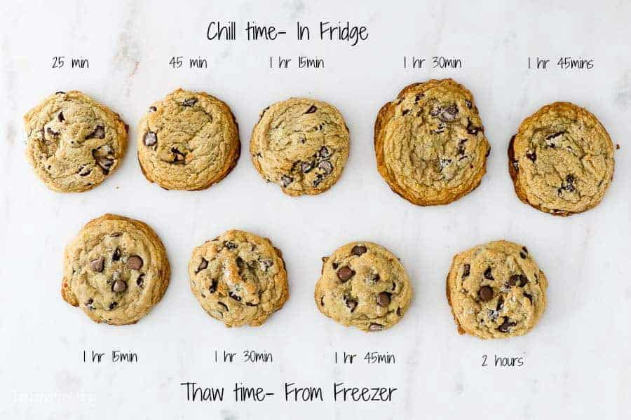 9 chocolate chip cookies laid out next to each other, labeled with baking times