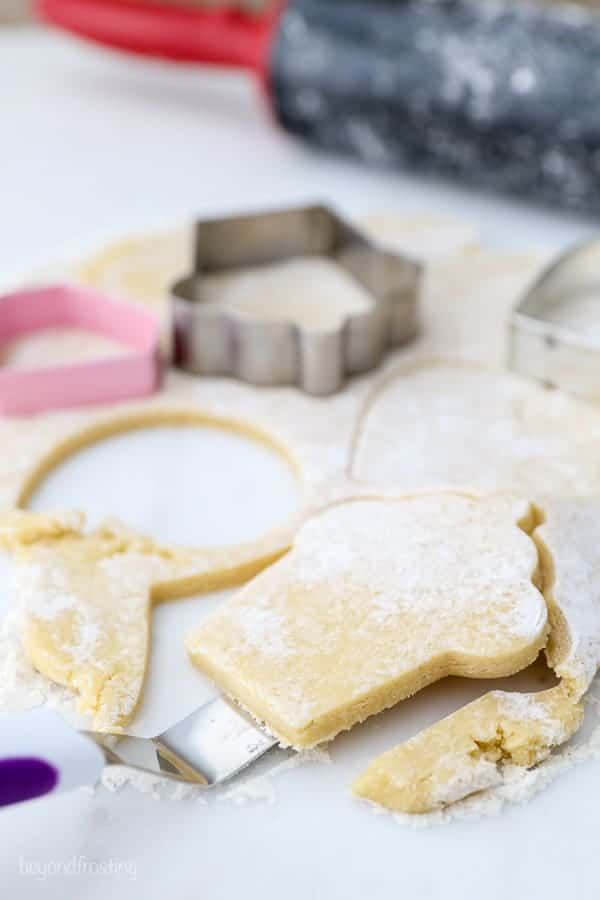 An angled spatula is sitting under a thick sugar cookie helping to release it from the dough