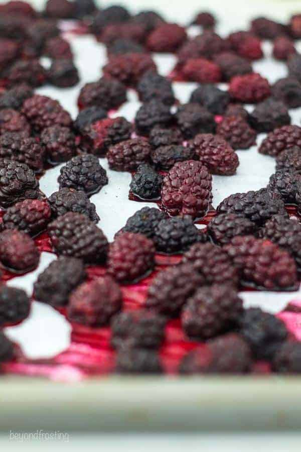Roasted blackberries showing their juices
