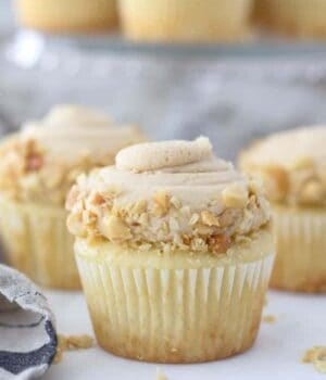 A gorgeous peanut butter cupcake topped with a creamy peanut butter frosting swirl that covered in crushed peanuts.