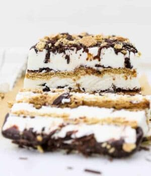 A head on shot of a layered s'mores ice cream cake, there's 3 layers of graham cracker and 3 layers of ice cream with lots of chocolate. A slice of the ice cream cake is layering down and blurred out in the front