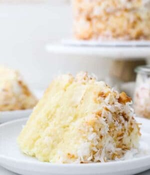 A closeup of a layered coconut cake on a white rimmed plate, the cake stand is blurred out in the background