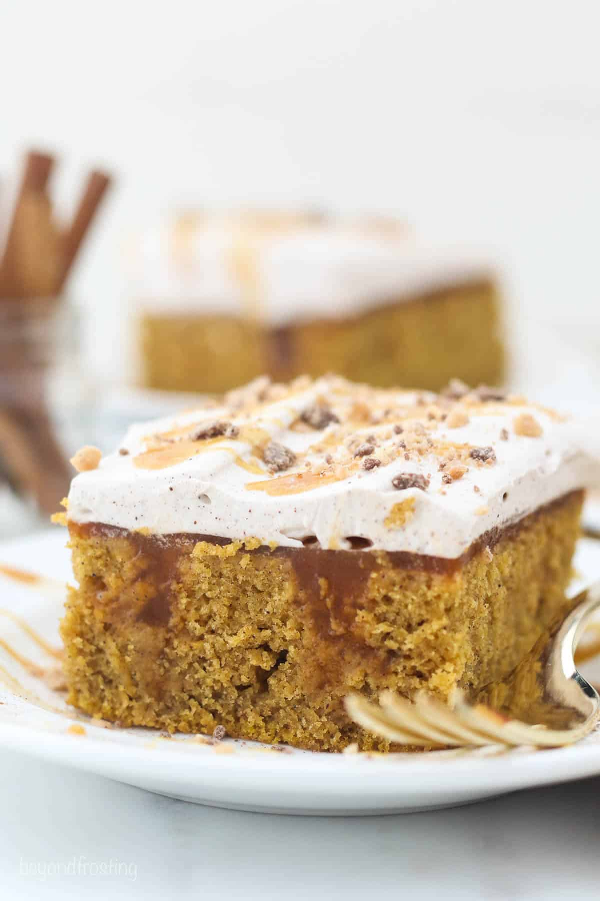 A close up of a shot of slice of pumpkin cake with a blurred cinnamon sticks in the background