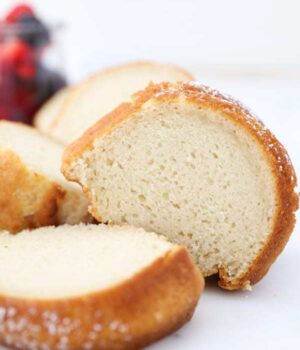 A playful shot of some slices of vanilla bundt cake
