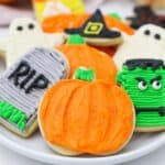 A plate of gorgeous decorated halloween sugar cookies
