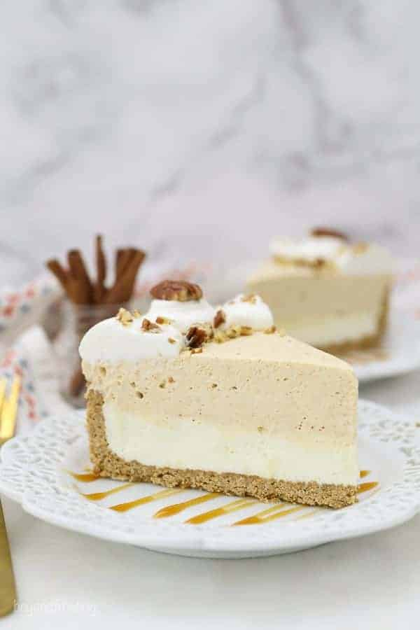 No Bake White Chocolate Pumpkin Mousse Cake slice on a plate