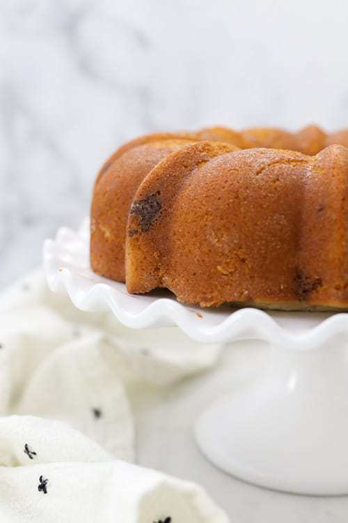An unfrosted bundt cake sitting on a white ruffled cake stand