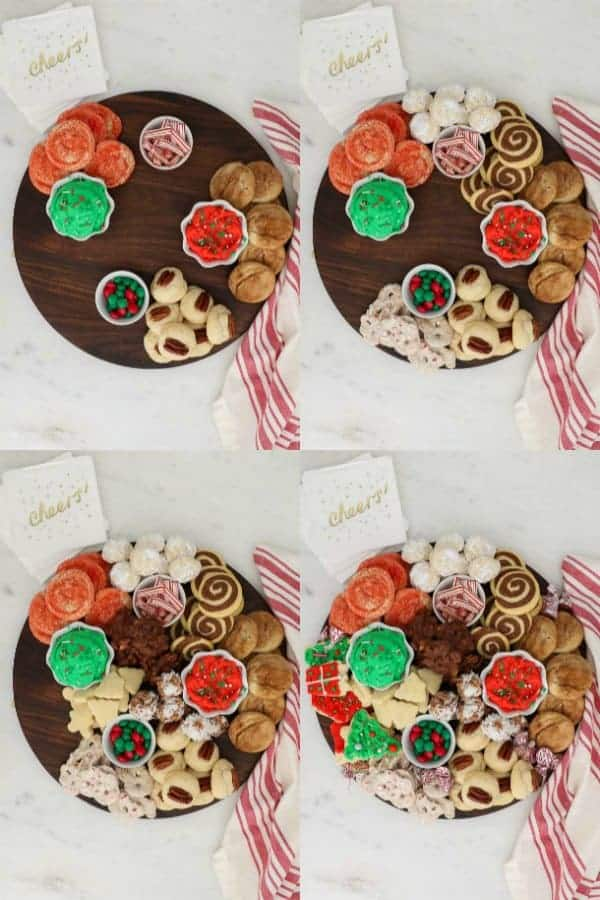 Step by step photos showing how to build a cookie dessert board