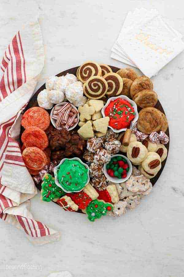 An overhead view of a gorgeous Christmas themed cookie board