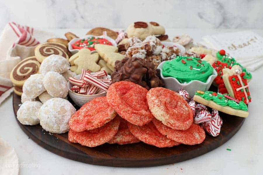 A wide angle shot of a Christmas themed dessert charcuterie board