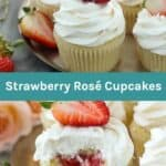 Strawberry Rosé Cupcakes Collage image