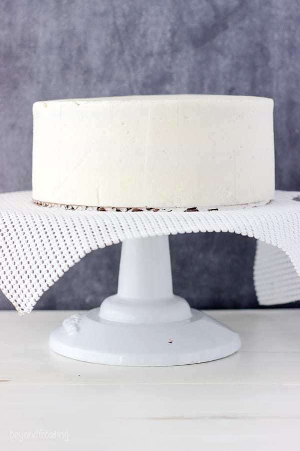 A frosted layer cake with sharp edges