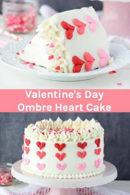 Valentine's Day Cake with Ombre Heart Design