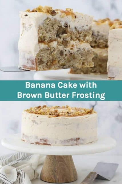 Homemade Banana Cake with Brown Butter Frosting collage images