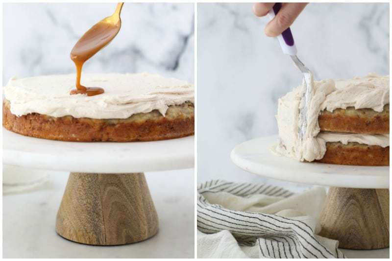 Two side by side photos frosting a cake and drizzling caramel