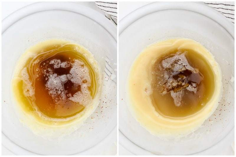 Two side by side images of chilled brown butter showing the progression of the chilling