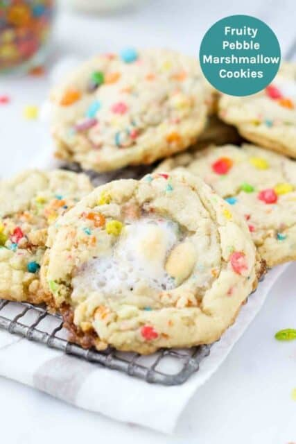 An image of Fruity Pebble Cookies with text overlay
