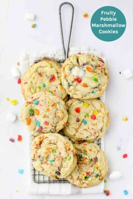 An overhead image of Fruity Pebble Cookies with text overlay