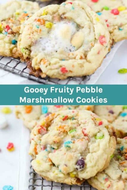 Two images of Fruity Pebble Cookies with text overlay