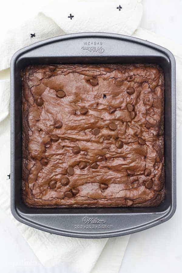 An overhead shot of an 8 inch Wilton brownie pan