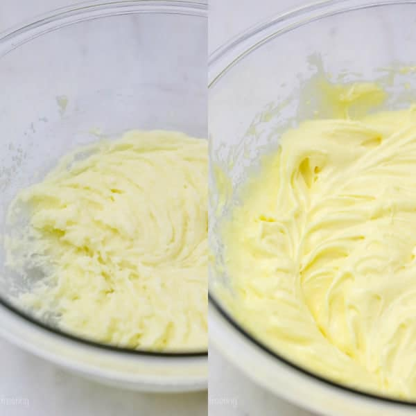 An overhead shot of two side by side glass bowl with whipped sugar, eggs and butter