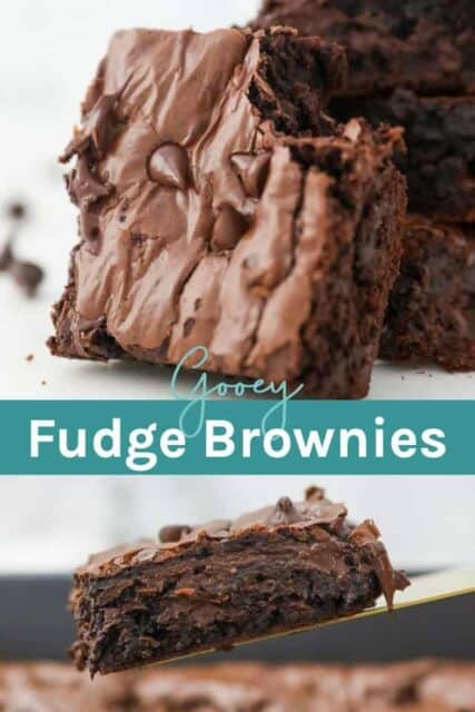 Two Gooey Brownie photos with text overlay