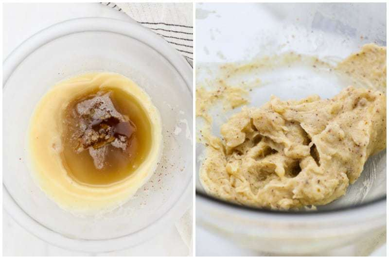 Two side by side images of brown butter, one is partially firm and one is whipped