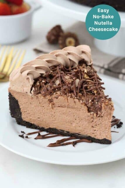 An image of Nutella cheesecake with a text overlay
