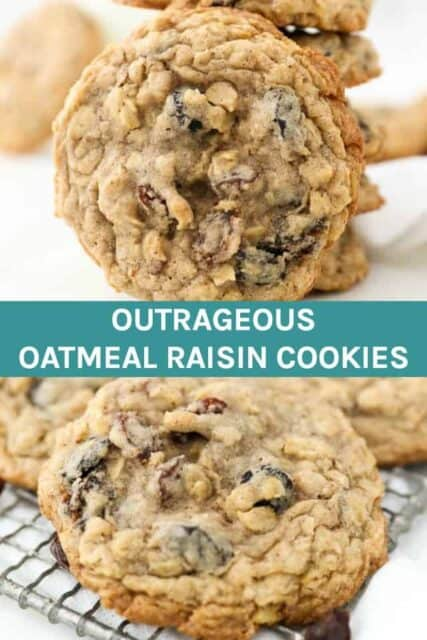 Collage image of two oatmeal raisin cookie images with text in the middle