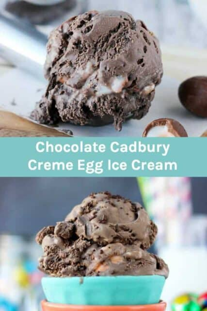 Two picture of chocolate ice cream with Cadbury eggs and a text overlay
