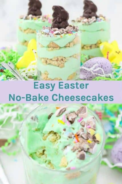 two image of Easter parfaits with a text overlay