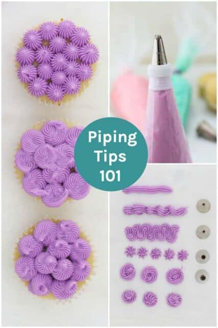 A collage image of decorated cupcakes, a piping bag and piping tips