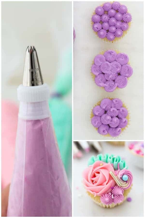 A collage of a piping bag filled with purple frosting and a few decorated cupcakes